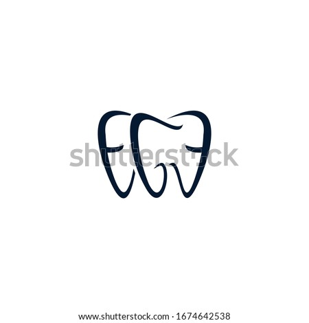 Dental Clinic Logo Tooth abstract design vector template Linear style. the letters EGE form the tooth logotype
