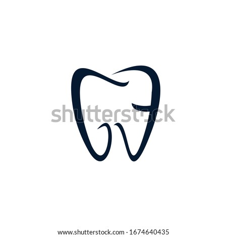 Dental Clinic Logo Tooth abstract design vector template Linear style. the letters GE form the tooth logotype