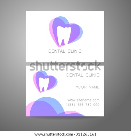 Dental Clinic. Template design of logo and corporate identity. Business Card.