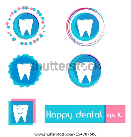 Dental clinic vector iconsSimple amp; Clean Design with Happy Smile