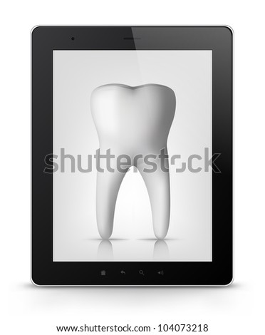Dental Concept. Tablet PC Isolated on White Background. Vector EPS 10.
