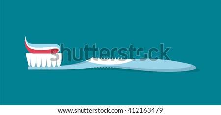 Dental concept. Toothbrush with toothpaste  isolated. Flat design, care health, hygiene healthy,vector illustration eps 8 #412163479