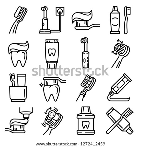 Dental electric toothbrush icons set. Line set of dental electric toothbrush vector icons for web design isolated on white background #1272412459