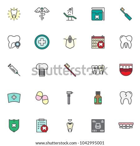 dental filled outline icons set
