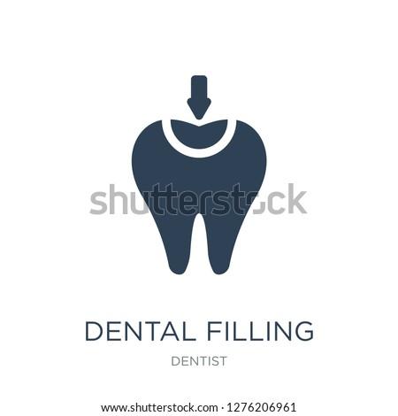 dental filling icon vector on white background, dental filling trendy filled icons from Dentist collection, dental filling vector illustration