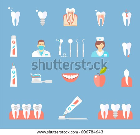 Dental Flat Icons Set Clinic Services Stomatology Dentistry Orthodontics Oral Health