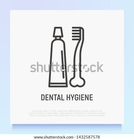 Dental hygiene for pets: toothbrush and toothpaste thin line icon. Modern vector illustration for pet shop. #1432587578