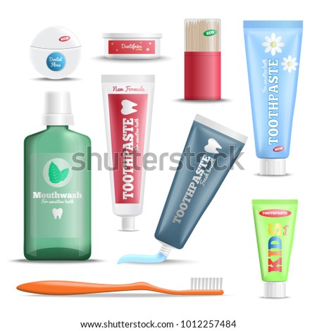 Dental hygiene oral care products realistic set with mouthwash toothpaste toothbrush floss and wooden sticks vector illustration  Foto stock ©