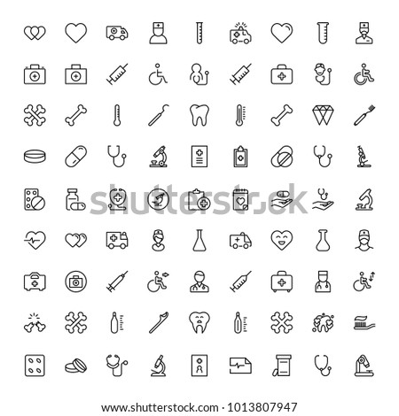 Dental icon set. Collection of vector symbols on white background for web design. Black outline sings for mobile application.