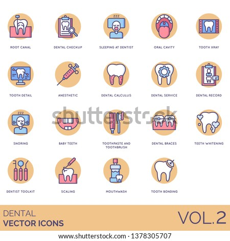 Dental icons including root canal, checkup, oral cavity, tooth xray, detail, anesthetic, calculus, record, snoring, baby teeth, toothpaste, toothbrush, braces, whitening, toolkit, scaling, mouthwash.