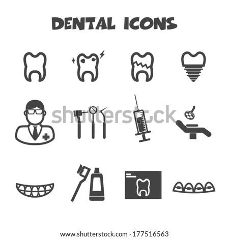 dental icons vector symbols