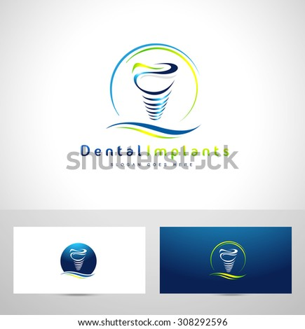 Dental Implant Design. Dentist Logo. Dental Implants Clinic Creative Company Vector Logo.