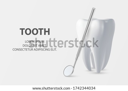 Dental Inspection Banner, Plackard. Vector 3d Realistic Dentist Mirror for Teeth with Tooth Icon Closeup on White Background. Medical Dentist Tool. Design Template. Dental Health Concept