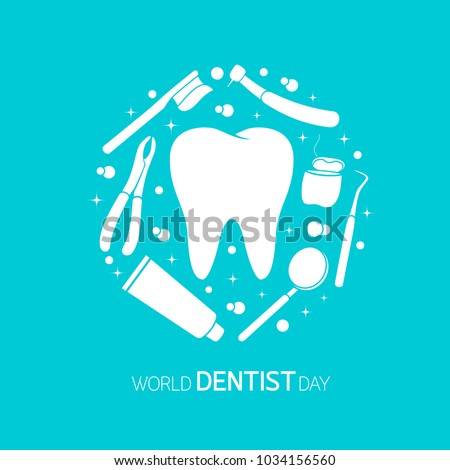 Dental instruments with tooth in circle shape. 6 March, World Dentist Day Campaign. Vector Illustration isolated on blue background. Great for greeting card, poster and banner