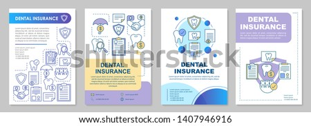 Dental insurance brochure template layout. Guaranteed savings. Flyer, booklet, leaflet print design with linear illustrations. Vector page layouts for magazines, annual reports, advertising posters