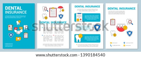 Dental insurance brochure template layout. Treatment guarantee. Flyer, booklet, leaflet print design with linear illustrations. Vector page layouts for magazines, annual reports, advertising posters