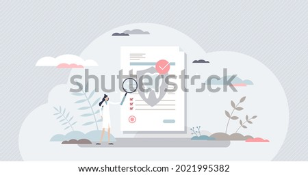 Dental insurance for tooth procedure bill cost coverage tiny person concept. Stomatology hygiene and care document with diagnosis and price form vector illustration. Financial security for dentist. Foto stock ©