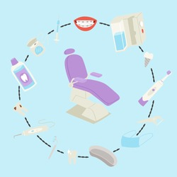 Dental medical care tools and equipment vector illustration. Teeth dental care for mouth health set with inspection dentist treatment, brushes, chair and toothpaste. Infograthic for tooth treatment.