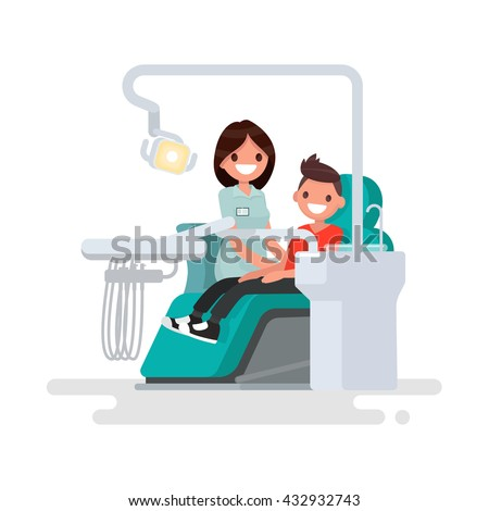 Dental office. Children's dentist and patient. Vector illustration of a flat design