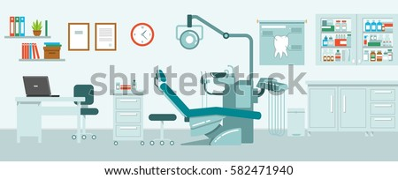 dental office concept in flat