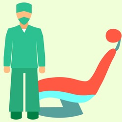 Dental office. Dentist man stand. Vector illustration