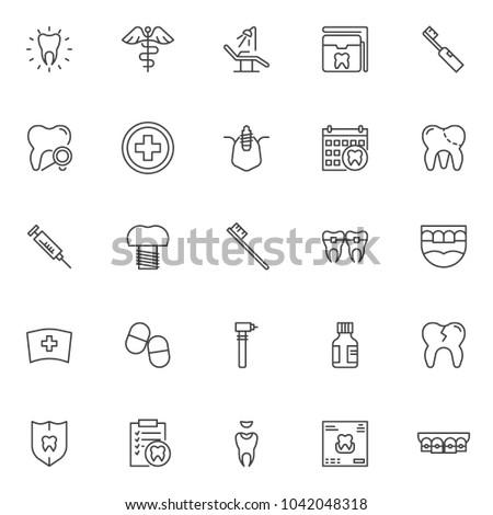 dental outline icons set