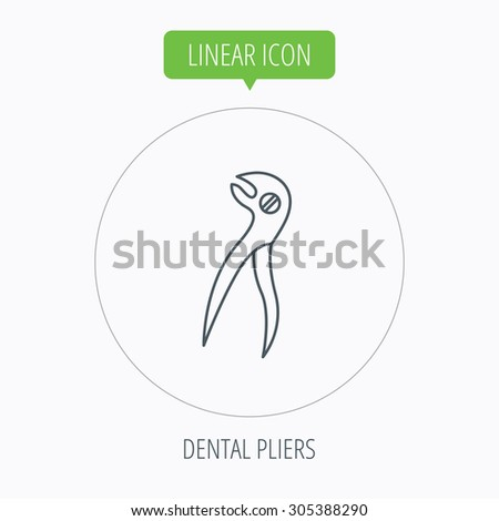 Dental pliers icon. Stomatological forceps tool sign. Linear outline circle button. Vector #305388290