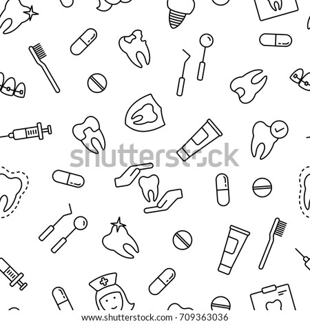 Dental seamless pattern. Tiling textures with thin line black and white icon set
