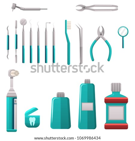 Dental services objects. Dental cleaning and care tools. Stomatology and orthodontics instruments and tools. Medical, stomatology vector objects.