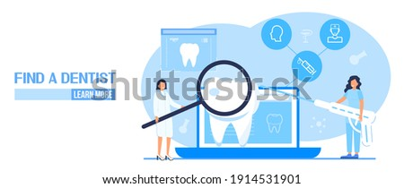 Dental services vector concept for landing page. Dentists make x-ray scan of teeth to help toothache, to whiten enamel or recovery implant. Professionals of odontology work, treat illness tooth.  Foto stock ©