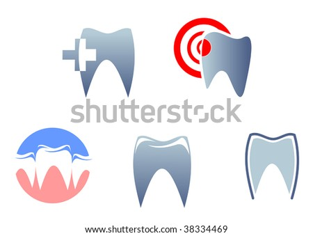 Dental signs and symbols - abstract emblem or logo template. Jpeg version also available
