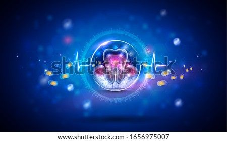 Dental treatment abstract concept design,  gum disease Periodontitis healing to prevent bacteria from inflamed gums enter in to the blood stream and affect other organs.