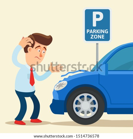 Dented and scratched car on a parking lot. Frustrated driver and dented car under parking traffic sign. Vector illustration, flat design, cartoon style. Isolated background. Side view.