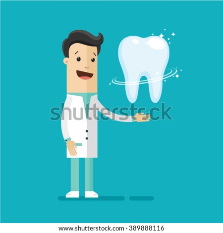 Dentist, a doctor in a blue suit, a tooth. Blue background. Illustration, vector EPS 10