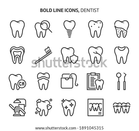 Dentist, bold line icons. The illustrations are a vector, editable stroke, 48x48 pixel perfect files. Crafted with precision and eye for quality.