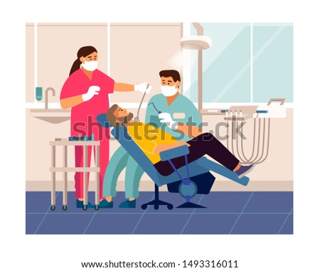 Dentist checkup. Cartoon patient at doctor office lying at dentistry chair, tooth care and examination concept. Vector illustration dentist visit in medicals clinics for cure teeth