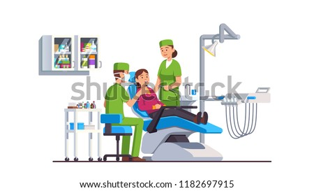 Dentist doctor examining patient woman lying at dentistry office chair. Assistant holding drill. Tooth ache checkup examination appointment. Dental clinic equipment. Flat vector interior illustration