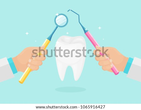 Dentist doctor hand hold dentistry instruments, tool. White health clean tooth isolated on background. Oral medicine. Stomatology. Dental care, healthcare, hygiene concept. Vector flat cartoon design