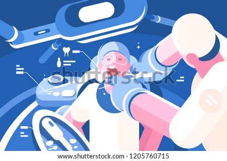 Dentist doing procedure at dental curing clinic. Healthy tooth concept. Flat. Vector illustration.