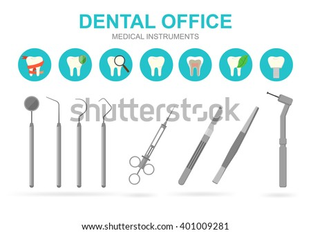 Dentist Equipment Isolated On White Background Vector Illustration Dental Tools Care