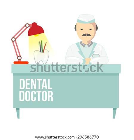 Dentist in dental clinic. The doctor is sitting at the table. Dental office vector illustration.