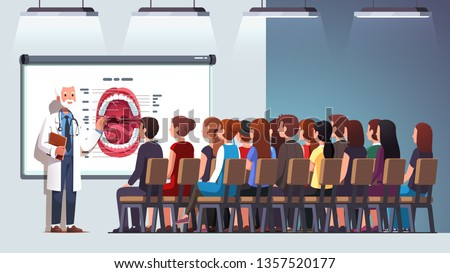 Dentist professor giving lecture to audience in classroom hall at conference. Elder doctor teacher explaining mouth structure to a group of medical students. Flat vector character illustration