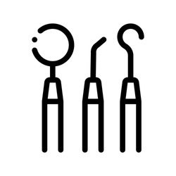 Dentist Stomatology Equipment Tool Vector Icon Sign Thin Line. Angled And Bayonet Probe Tool Device Linear Pictogram. Chairside Assistance Dental Health Service Monochrome Contour Illustration