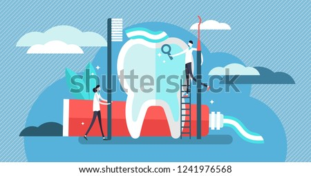 Dentist vector illustration. Mini persons with toothpaste flat concept. Stomatology occupation to protect human teeth from caries and health prevention. Diagnosis examination and hygiene equipment.