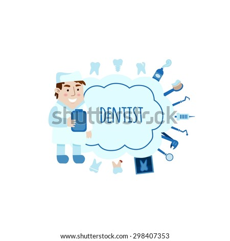 Dentist with different dental equipment flat bubbles vector illustration. Profession background