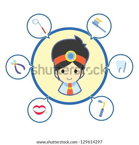 Dentist with job tool icons , Cartoon vector illustration