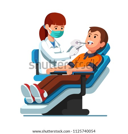 Dentist woman holding instruments and examining patient man teeth looking inside mouth. Patient lying down in dental chair. Teeth examination & dentistry checkup. Flat vector dentist  illustration