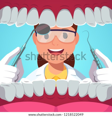Dentist woman holding instruments examining teeth. Patient mouth inside view checkup of healthy mouth with dentistry tools mirror & dental pick. Teeth dentistry examination. Flat vector illustration