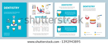Dentistry brochure template layout. Dental clinic services. Flyer, booklet, leaflet print design with linear illustrations. Vector page layouts for magazines, annual reports, advertising posters