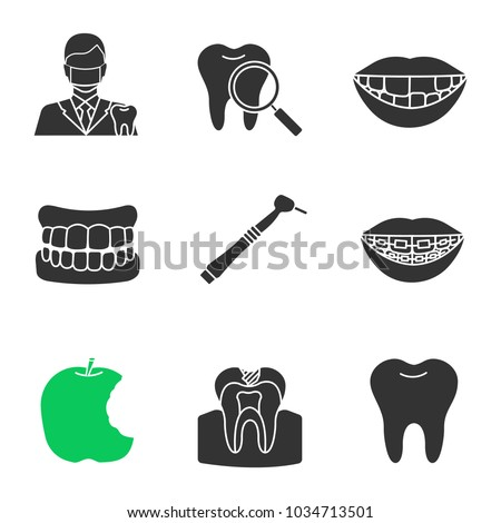 Dentistry glyph icons set. Stomatology. Dentist, teeth check, denture, missing tooth, dental drill, braces, bitten apple, caries, healthy molar. Silhouette symbols. Vector isolated illustration
